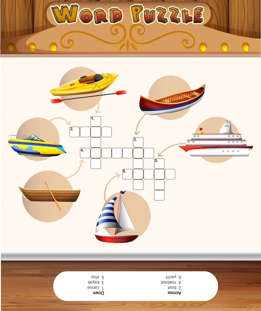 Word puzzle template with water transportations Premium Vector