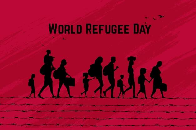 単語難民の日シルエットコンセプト Premiumベクター
