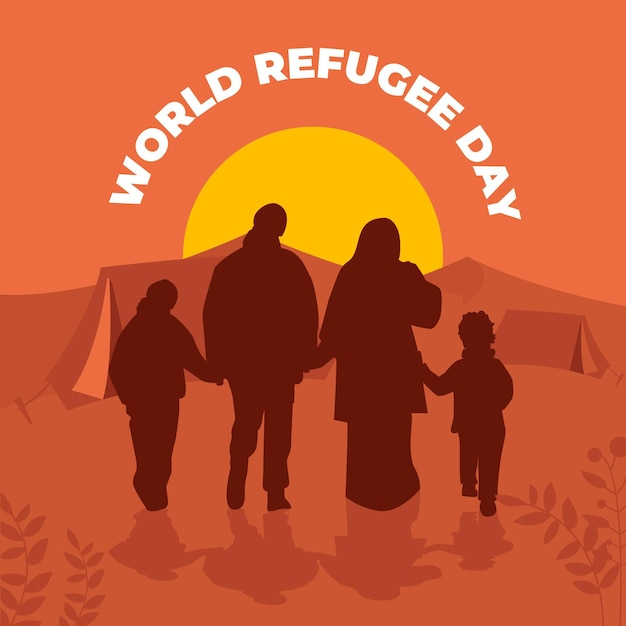 Word refugee day silhouettes concept Free Vector