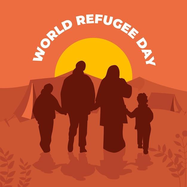 Concetto delle siluette di giorno del rifugiato di parola Vettore gratuito