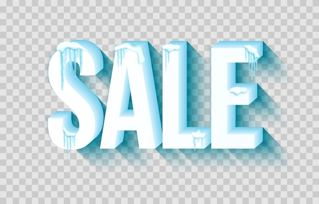 Word sale with snow and icicles Premium Vector