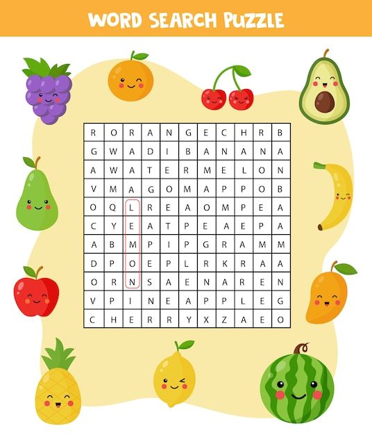 Premium Vector Word Search Puzzle With Cute Kawaii Fruits And Berries Find All The Words In The Field Elementary Crossword For Children Set Of Cartoon Fruits Logical Game Funny Brain Teaser