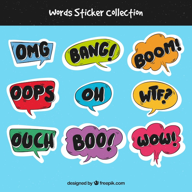 Word stickers collection Free Vector