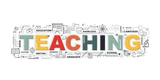 Word teaching banner. Premium Vector