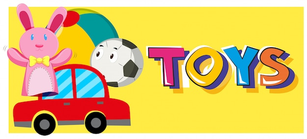 Word toys and different types of toys Free Vector