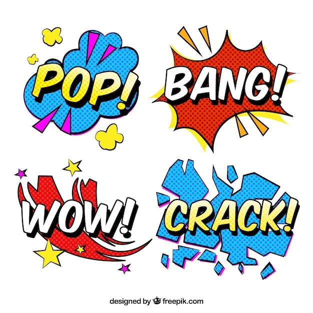Стикеры word с дизайном поп-арта Бесплатные векторы