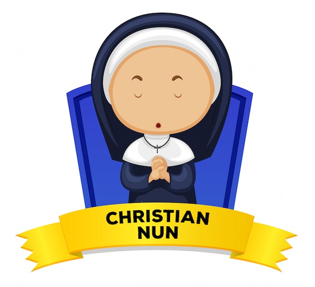 Wordcard with occupation christian nun Free Vector