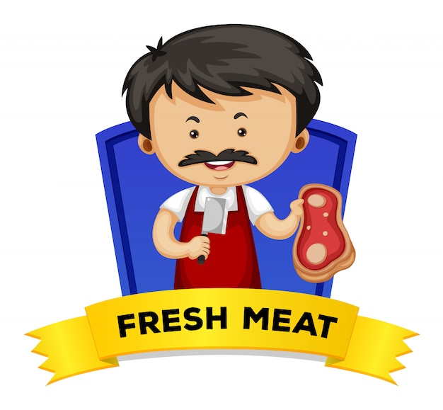 Wordcard with word fresh meat Free Vector
