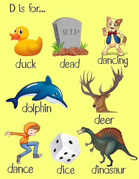 picture of objects starting with letter d words begin with letter d vector free 168