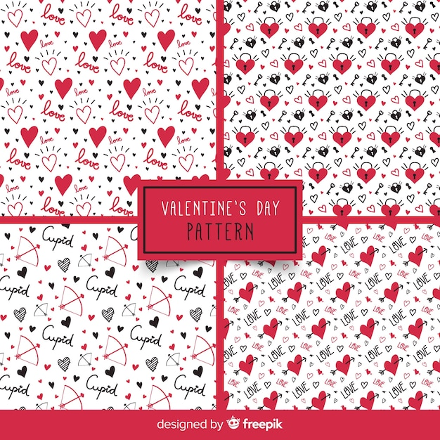 Words and hearts valentine's day pattern Free Vector