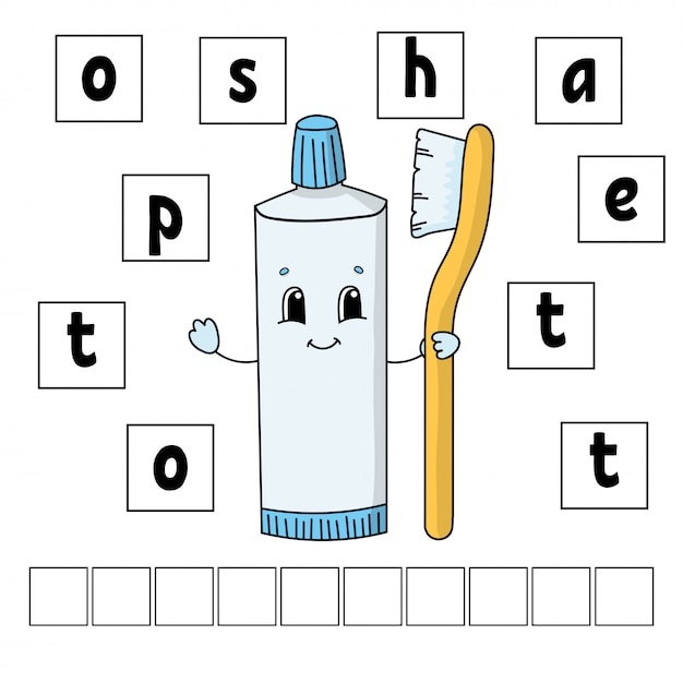 Words puzzle. education developing worksheet. learning game for kids. activity page. Premium Vector