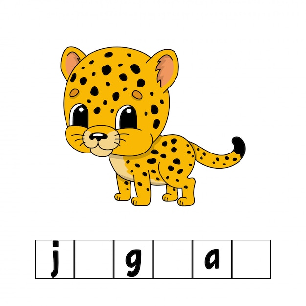 Words puzzle, jaguar. education developing worksheet. Premium Vector