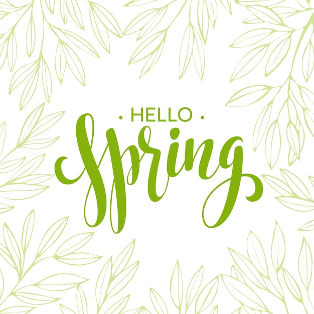 Words spring with wreath, branches,leaves .  illustration Premium Vector