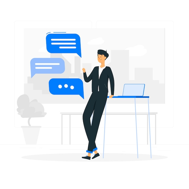 Work chat concept illustration Free Vector