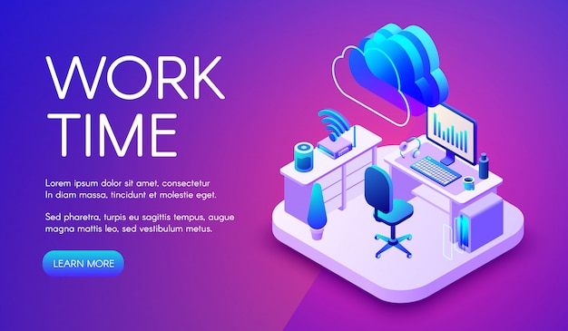 Work and cloud internet illustration of smart office or workplace with router connection. Free Vector