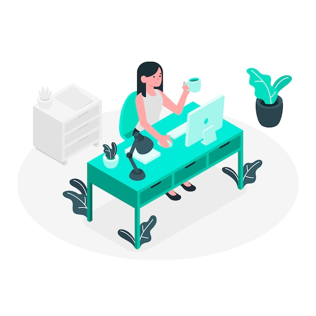 At work concept illustration Free Vector