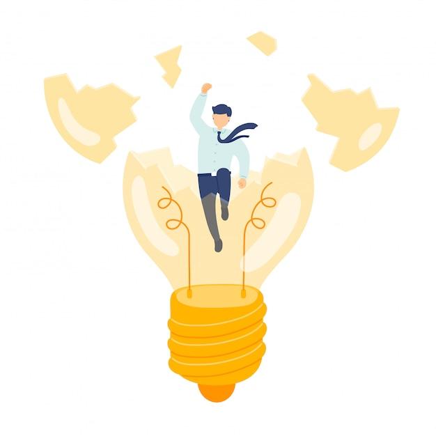 Работа созданная идея управления персоналом, миниатюрные сотрудники люди ломают лампочку, бизнес метафора концепции, плакат или социальный дизайн баннера, иллюстрации на белом фоне Premium векторы