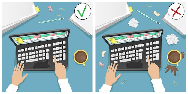 Work desk with laptop, a pile of papers and a cup of coffee. comparison of a dirty desktop and a clean one.  cartoon illustration. Premium Vector