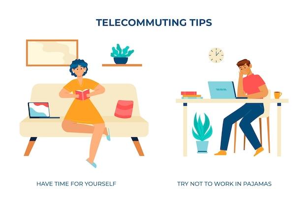 Работайте дома и найдите время для себя Бесплатные векторы
