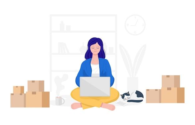 Работа из дома концепции, счастливая женщина, продающая товары в интернете дома. Premium векторы