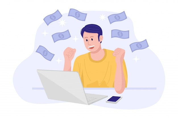 Work from home concept, a young happy man making money on internet. Premium Vector