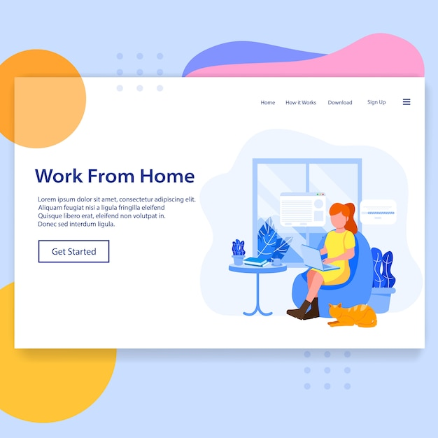 Work from home landing page Premium Vector