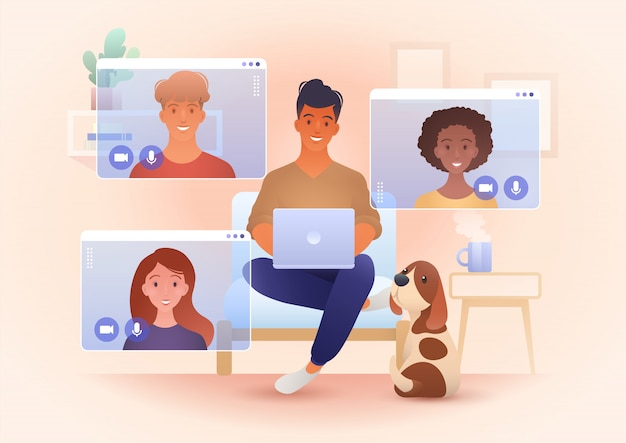 Work from home, and new normal concept illustration with young smiling  people meeting via video call app. | Premium Vector