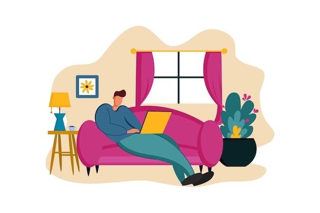 Work from home on sofa web illustration