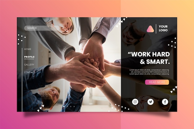Work hard and smart business concept landing page Free Vector