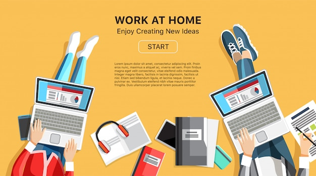 Work at home business banner with people Premium Vector