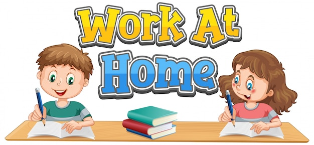 Work at home font design with two kids doing homework Free Vector