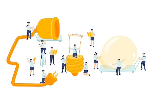 Идея работы сотрудник управление командой, миниатюрная сборочная команда люди делают лампочку бизнес-концепция метафора плакат или социальный баннер дизайн иллюстрация, изолированных на белом фоне Premium векторы