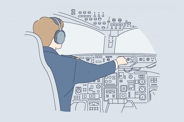 Работа, промышленность, транспорт, концепция полета Premium векторы