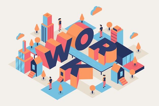 Work isometric typographic message Free Vector