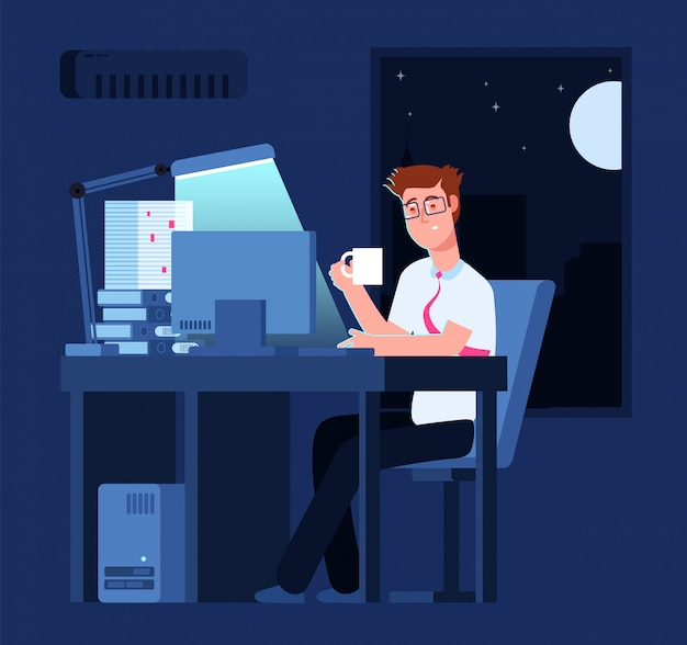 Work late concept man at night in office with pile of paper and laptop business background Premium Vector