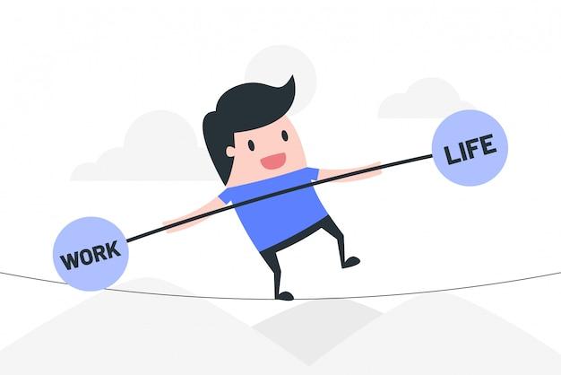 Work life balance concept illustration. Premium Vector