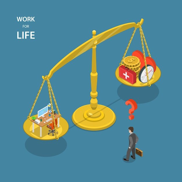 Work for life isometric flat vector illustration. Premium Vector