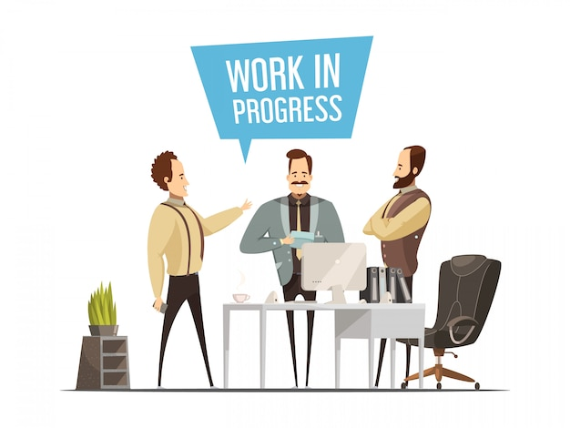 Work meeting design in cartoon style with standing men around office table during communication vect Free Vector