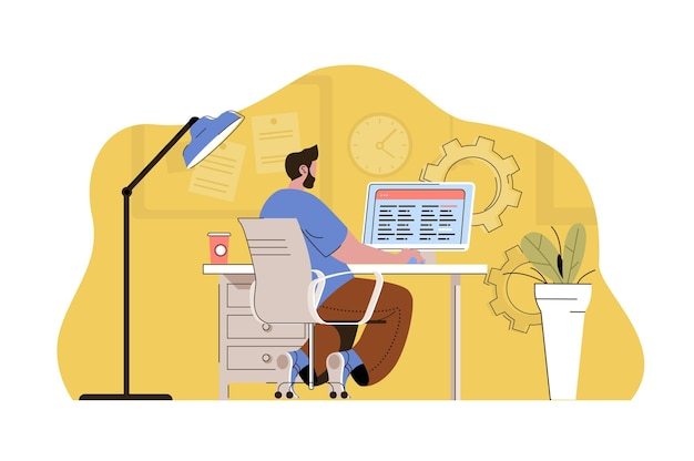 Work optimization concept man creates schedule planning processes and tasks