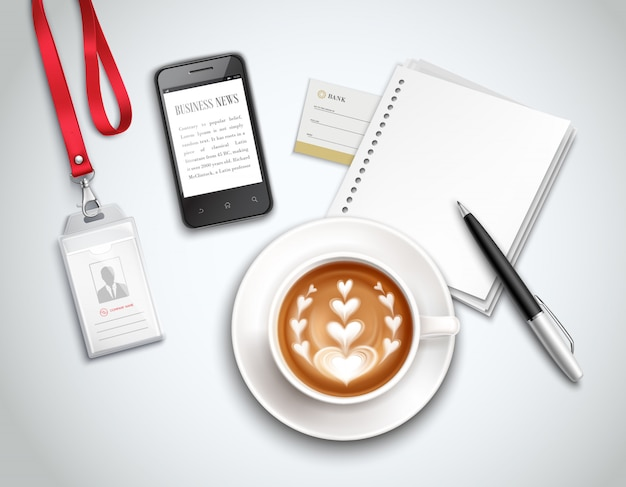 Work place top view with cappuccino smart phone and stationery on light realistic illustration Free Vector