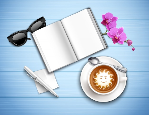 Work place top view with cappuccino sun glasses and orchid on textured blue realistic illustration Free Vector