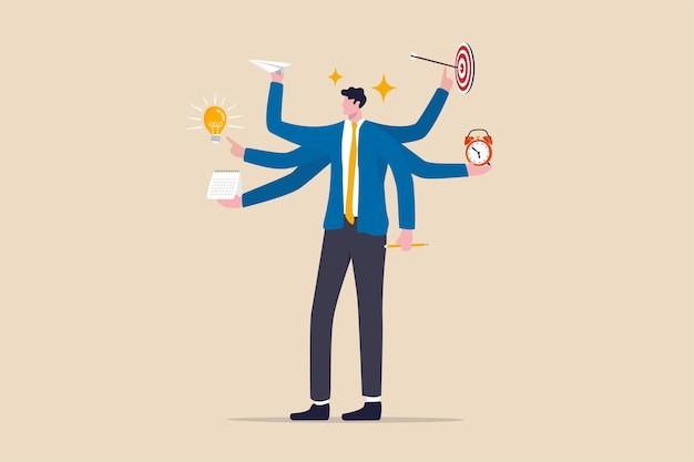 仕事の生産性と効率、ビジネスアイデア、マルチタスクとプロジェクト管理の概念、スマートビジネスマン Premiumベクター
