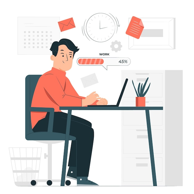 Work in progressconcept illustration Free Vector