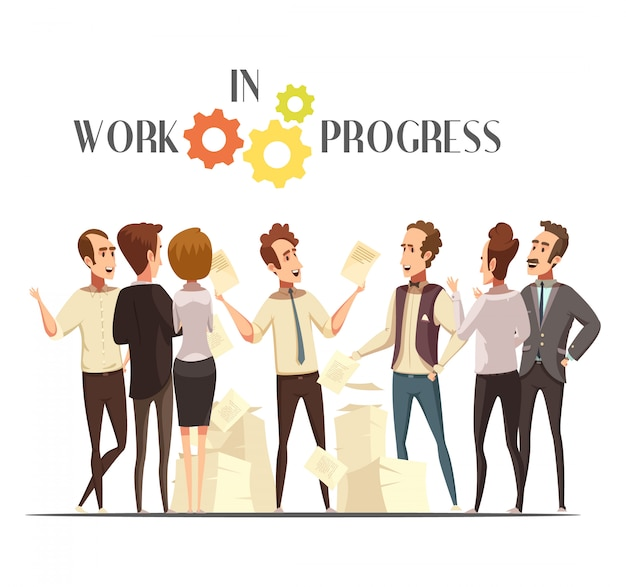 Work in progress concept with meeting and creative thinking symbols cartoon vector illustration Free Vector