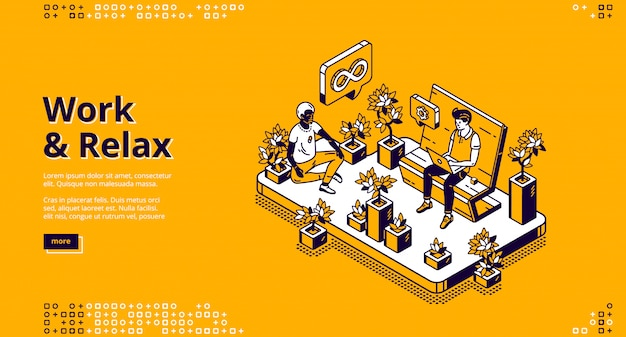 Work and relax isometric landing page, web Free Vector
