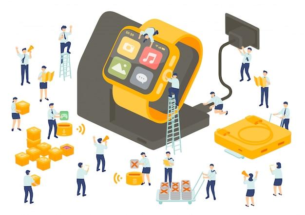 Работа службы технологии сотрудника управления коллективной работой, миниатюрные сотрудники сборочной команды установить приложение smartwatch, бизнес метафора, плакат или социальный баннер, изолированных иллюстрация фон Premium векторы