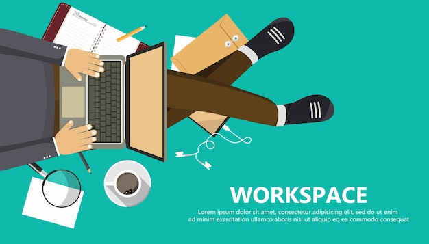 Work space business banner Free Vector