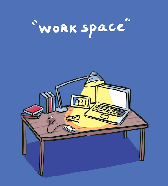 Work space in the dark Premium Vector