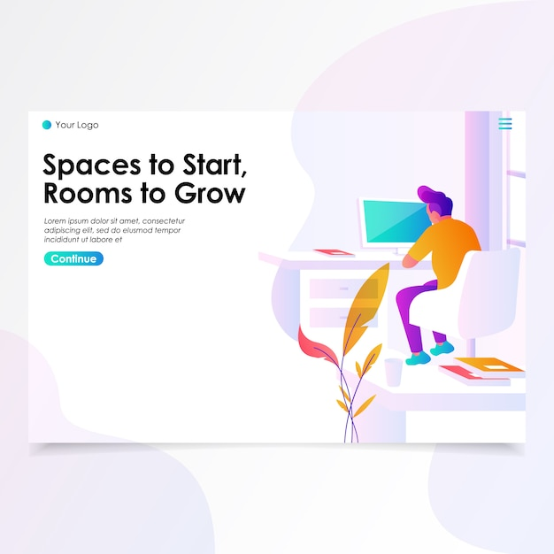 Work space landing page illustration Premium Vector