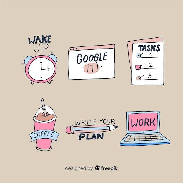 Work stickers to decorate photos Free Vector